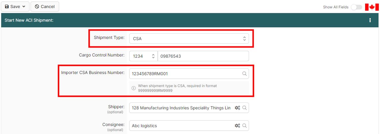 ACI CSA Importer Search Page (ACI eManifest) - BorderConnect